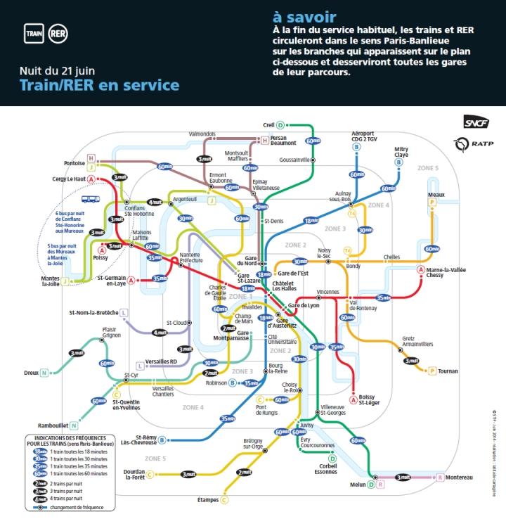 Carte du réseau RER